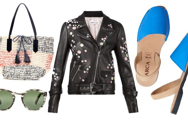 J.Crew bag, now $69.99, available at J.Crew; St. Germain Blacklight sunglasses, now $311.99, available at Need Supply; Sandy Liang floral leather jacket, now $1,826, available at Assembly New York; Varca sandal, now $55, available at Toast.