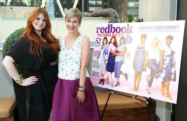 Winner Buzan with Redbook editor-in-chief Meredith Rollins, recycling a Ted Baker skirt, previously worn by winner Cassie Freeman for the feature shoot. Photo: Monica Schipper