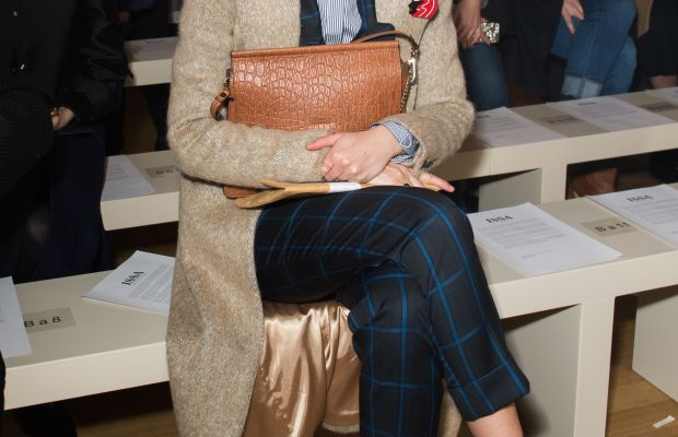 Caroline Issa, front row at the Issa fall 2015 show during London Fashion Week. Photo: Samir Hussein/WireImage