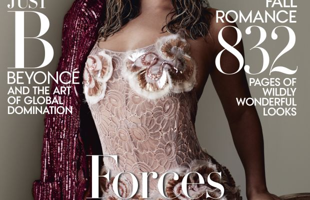 """Beyoncé in Marc Jacobs on the cover of """"Vogue""""'s 2015 September issue. Photo: Mario Testino/""""Vogue"""""""