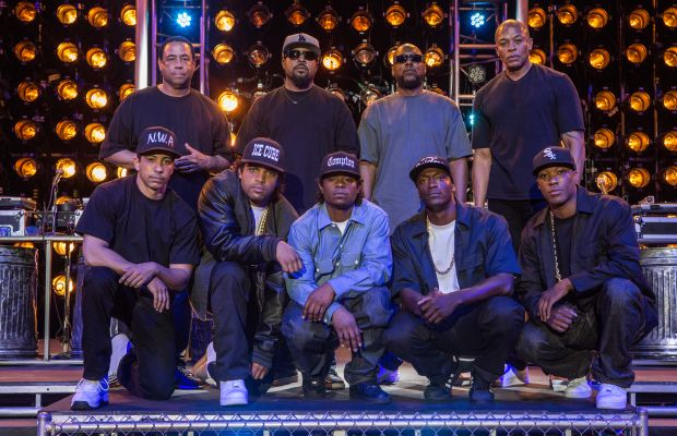 Clockwise from left: DJ Yella, Ice Cube, MC Ren, Dr. Dre, Corey Hawkins as Dr. Dre, Aldis Hodge as MC Ren, Jason Mitchell as Eazy-E, O'Shea Jackson Jr. as Ice Cube and Neil Brown Jr. as DJ Yella. Photo: Universal Pictures