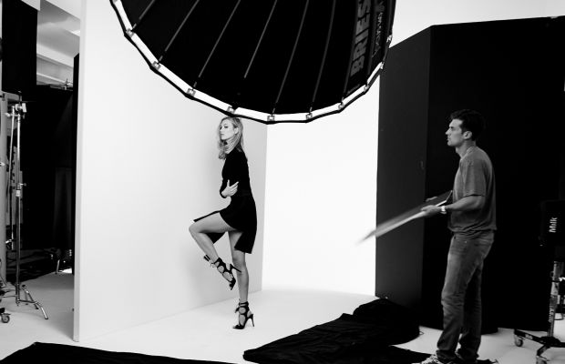 Karlie Kloss photographed behind-the-scenes of Marc Fisher's first campaign. Photo: Marc Fisher