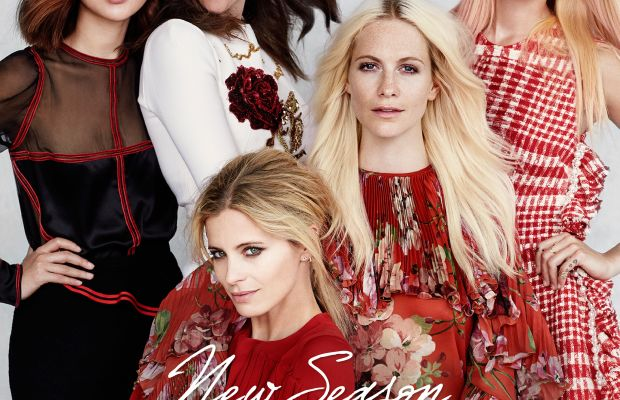 Poppy Delevingne, Laura Bailey, Chloe Norgaard, Julia Restoin Roitfeld and Nicole Warne mark The Net Set's public launch on the cover of The Edit. Photo: Net-a-Porter.