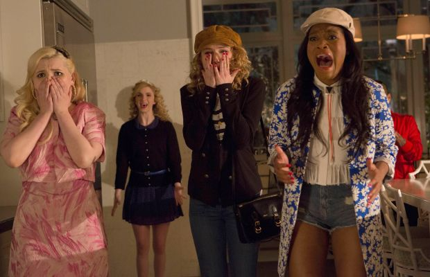"""""""Pleated pants are back?!"""" L to R: Abigail Breslin as Chanel number five, Whitney Meyer as Tiffany, Skyler Samuels as Grace and Keke Palmer as Zayday. Photo: Steve Dietl/FOX"""