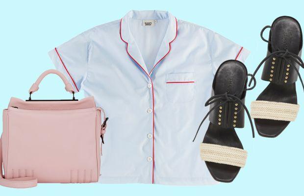 3.1 Phillip Lim bag, now $396.75,available at Barneys Warehouse; Sleepy Jones pajama shirt, now $108.80, available at Sleepy Jones; Thakoon sandals, now $184.50, available at Intermix.