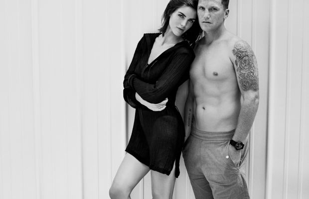 Hilary Rhoda and Sean Avery model their summer 2015 capsule collection for Solid & Striped. Photo: Solid & Striped