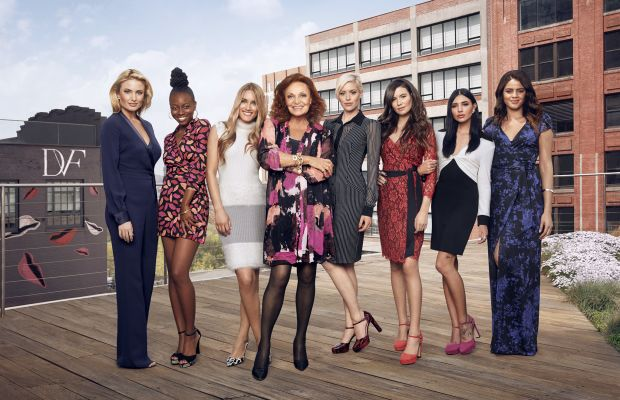 L to R: Alley from the Valley, Cree, Chantal, von Furstenberg, Cat, Leigh, Hanna Beth and Maytee. Photo: House of DVF