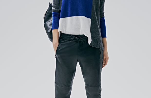 Leather jogging pants and a cashmere sweater. Photo: Athleta