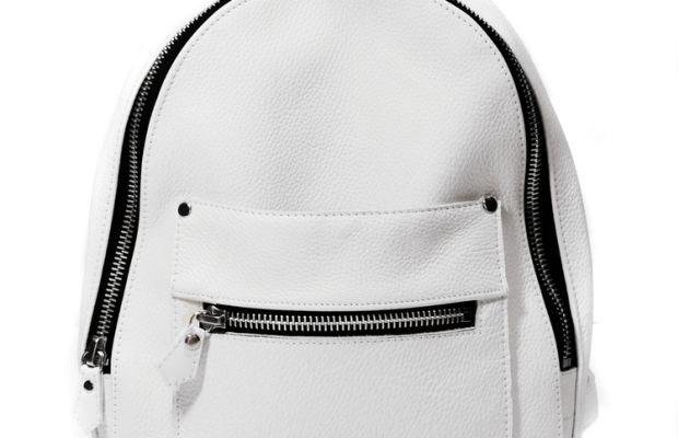 Khoi Le White Mini Collegiate Backpack, $420, available at Khoi Le.