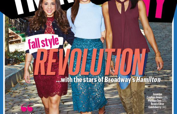 """Hamilton"" stars Jasmine Cephas Jones, Phillipa Soo and Renee Elise Goldsberry on the cover of TrendingNY's September issue, out Tuesday. Photo: TrendingNY"