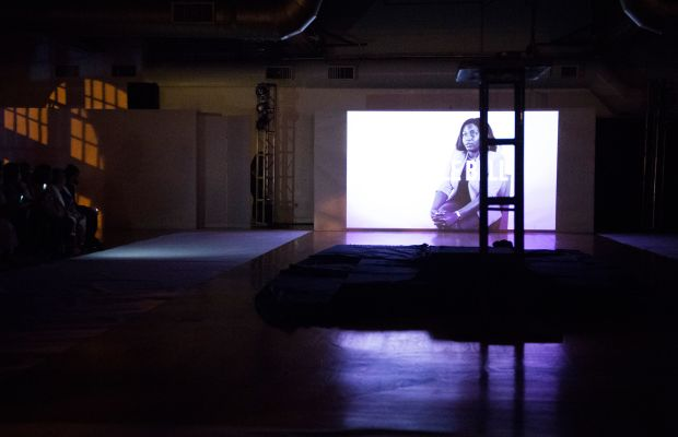 The film plays at the start of the Pyer Moss spring 2016 show. Photo: Imaxtree