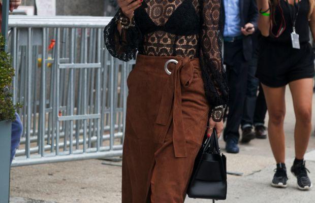 Margaret Zhang in Zimmerman top, Tibi wrap skirt, C/MEO Collective pants and Boyy bag. Photo: Emily Malan/Fashionista