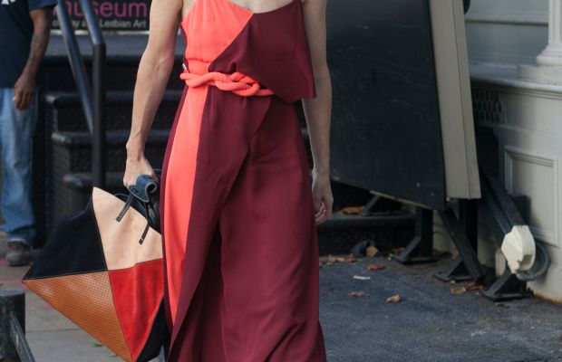 Sarah Sophie Flicker in Tanya Taylor dress and Clare V bag. Photo: Emily Malan/Fashionista