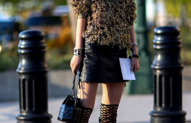 Irene Kim in KYE sunglasses and top, Schutz shoes and Chanel bag. Photo: Imaxtree