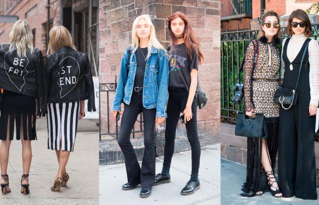 Street style photographers love a pair. Photos: Emily Malan/Fashionista (1); KDV/Fashionista (2)