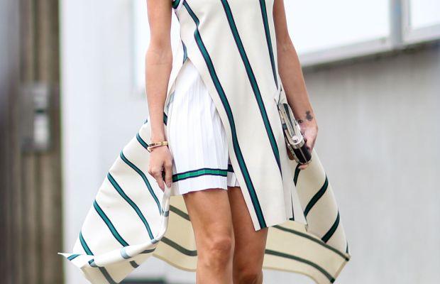 Blogger Helena Bordon in Lacoste dress. Photo: Imaxtree