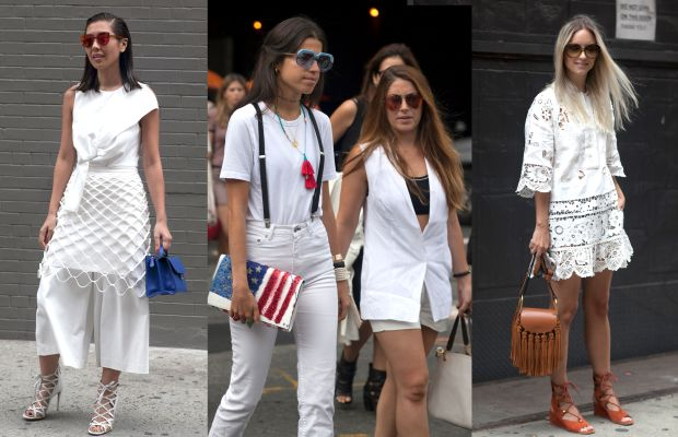 Lots of white looks on the street on day three of New York Fashion Week. Photos: Emily Malan/Fashionista