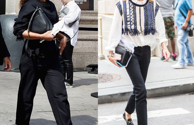 Spotted on the street on Sunday. Photos: Bryan Bedder/Getty Images (left) and KDV/Fashionista (right)