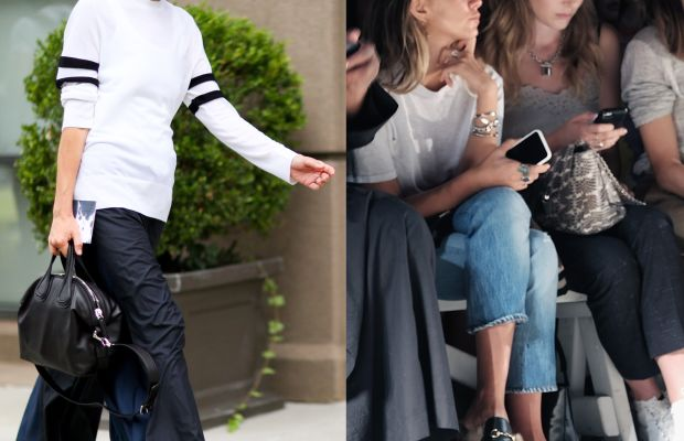 Vogue's Virginia Smith and front row at Tracy Reese. Photos: Imaxtree (left) and Brenna Weeks/Getty Images (right)