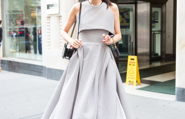 Stylist and fashion consultant Leaf Greener in Toni Maticevski dress and Yazbukey bag and Chanel slingbacks. Photo: KDV/Fashionista
