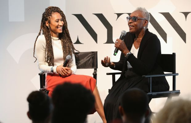 Elaine Welteroth (left) with Bethann Hardison (right) at the NYFW HQ. Photo: Robin Marchant/Getty Images