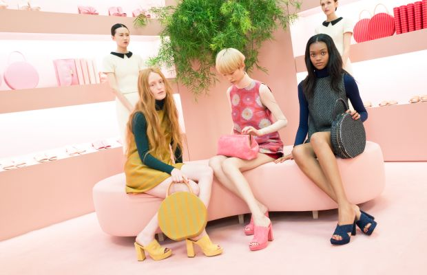 """Models as """"shop girls"""" and """"shoppers"""" with Mansur Gavriel bags and shoes. Photo: Mansur Gavriel"""