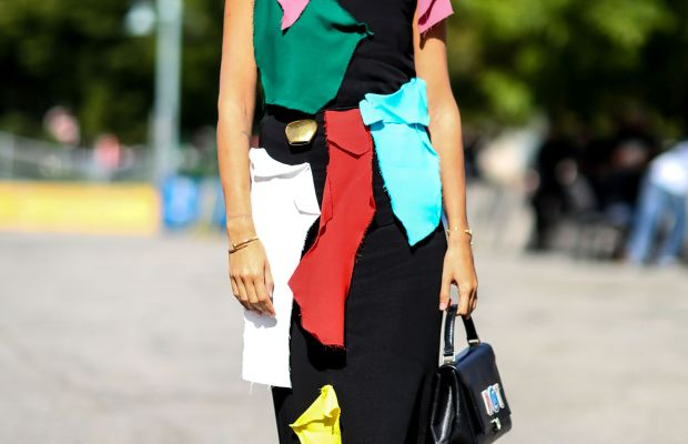 Designer/stylist Natasha Goldenberg in Loewe with Anya Hindmarch bag. Photo: Imaxtree