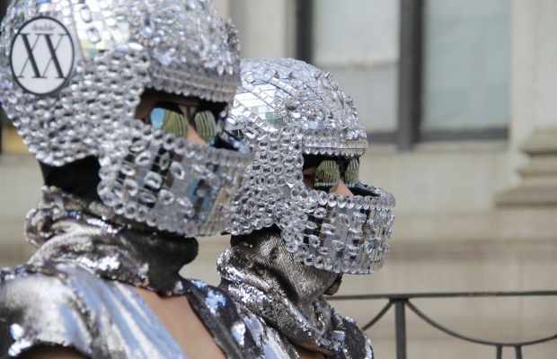 Bedazzled helmets, seen everywhere at NYFW. Photo: Georgie Wileman/Getty Images