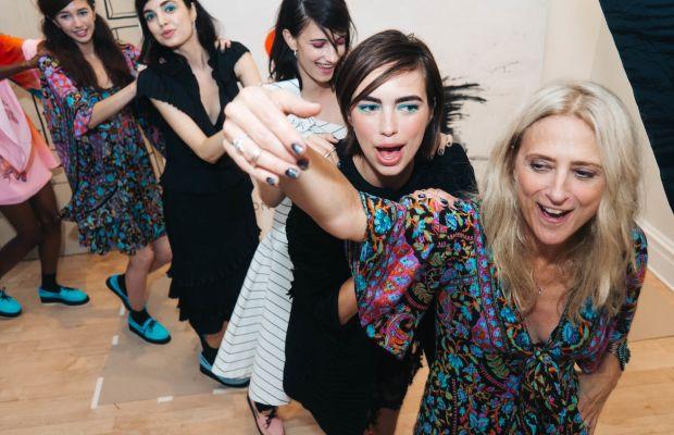 Designer Nanette Lepore dancing with models at her spring 2016 presentation party. Photo: Nanette Lepore