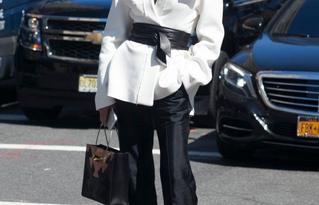 Stylist Elina Halimi in Ellery jacket, pants and Balenciaga bag. Photo: Emily Malan/Fashionista