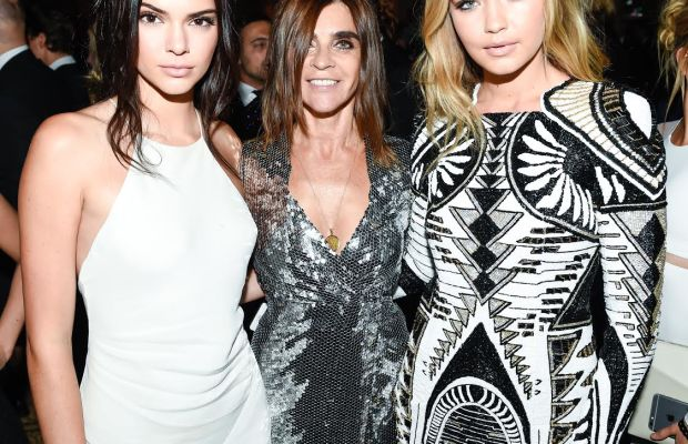 "Kendall Jenner, Carine Roitfeld and Gigi Hadid celebrate Roitfeld's Sept. 2015 ""Icons"" portfolio for Harper's Bazaar. Photo: BFA"