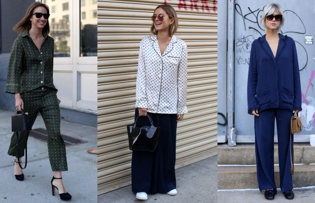 Pajama dressing accented by luxe accessories on the street at New York Fashion Week. Photos: Angela Datre/Fashionista