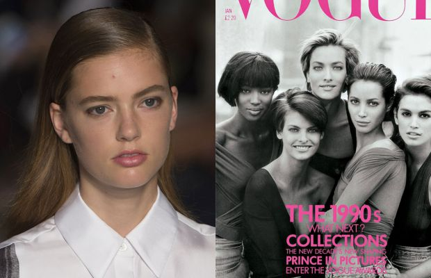 DKNY and Peter Lindbergh's classic Vogue supermodel cover. Photos: Imaxtree/Vogue