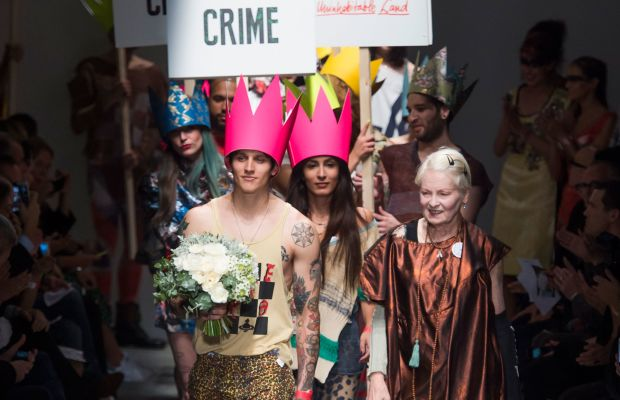 Designer Vivienne Westwood at her spring 2016 Red Label runway show. Photo: Imaxtree