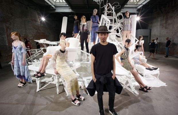 Designer Han Chong at the Self-Portrait spring 2016 presentation during New York Fashion Week. Photo: Grant Lamos IV/Getty Images