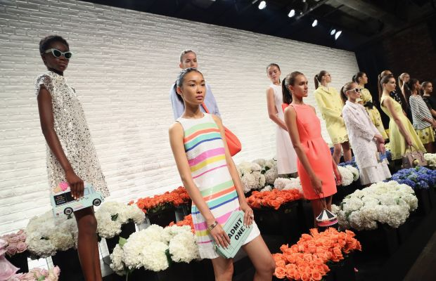 Models and flowers galore at the Kate Spade New York spring 2016 presentation during New York Fashion Week. Photo: Monica Schipper/Getty Images