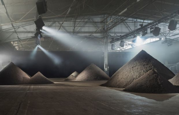 The installation for 3.1 Phillip Lim's spring 2016 show by environmental artist Maya Lin. Photo: 3.1 Phillip Lim