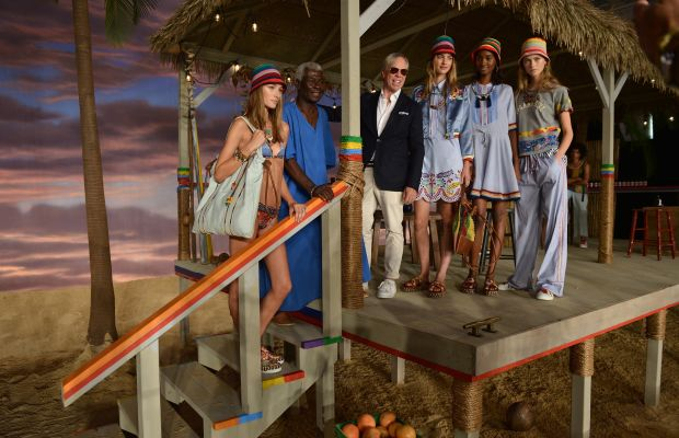 From left: Josephine Le Tutour, Basil Charles, Tommy Hilfiger, Maartje Verhoef, Tami Williams and Julie Hoomans pose at Tommy Hilfiger Women's spring 2016 show during New York Fashion Week. Photo: Grant Lamos IV/Getty Images