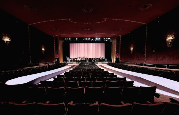The Marc Jacobs set design for spring 2016 at the Ziegfeld Theatre. Photo: Dimitrios Kambouris/Getty Images