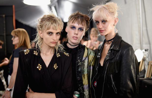 Veronika Vilim, left, backstage at Marc Jacobs. Photo: Jamie McCarthy/Getty Images