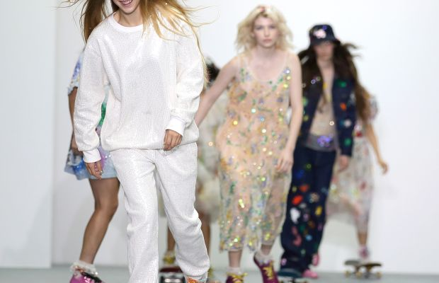 Models on skateboards at Ashish's spring 2016 presentation. Photo: Mike Marsland/Getty Images
