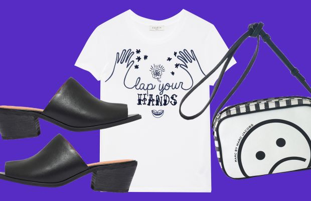 The Eller mule, now 199.99, available at Madewell; Tara T-shirt, $71.25 with code FF25, available at Sandro; Unsmiley Striped Sally, now $118.80, available at Marc Jacobs.