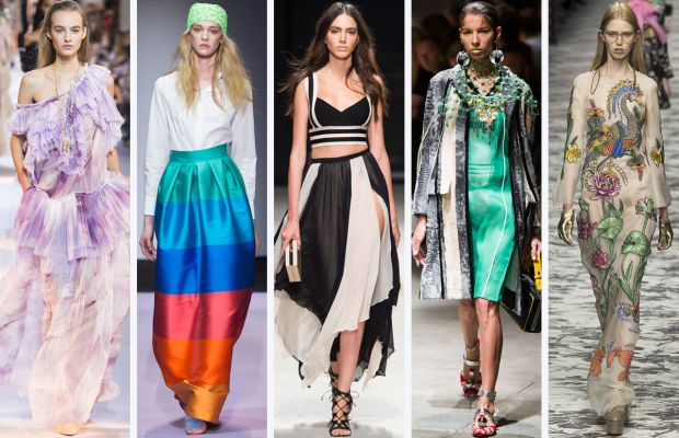 From left to right: Roberto Cavalli, Daizy Shely, Elisabetta Franchi, Prada, and Gucci