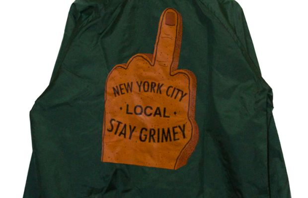 """Stay Grimey"" Jacket, $60, available at Despierta NYC."