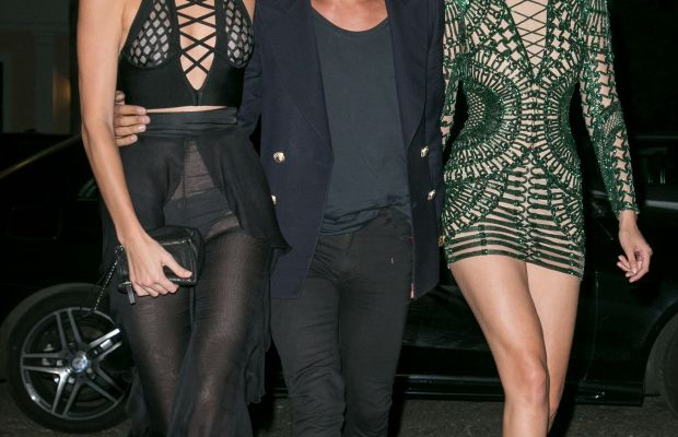 Kendall Jenner, Olivier Rousteing and Gigi Hadid arrive at Vogue's Instagram dinner during Paris Fashion Week. Photo: Marc Piasecki/Getty Images