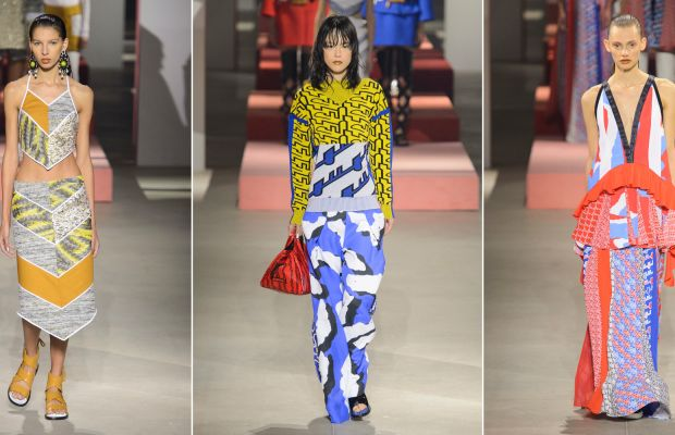 Three looks from Kenzo's spring 2016 show. Photos: Imaxtree