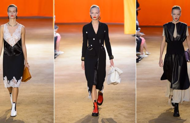 Three looks from Céline's spring 2016 show. Photos: Imaxtree