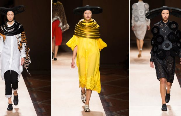 Three looks from Junya Watanabe's spring 2016 collection. Photos: Imaxtree