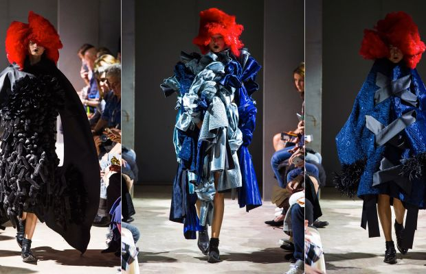 Three looks from Vivienne Westwood's spring 2016 show. Photos: Imaxtree