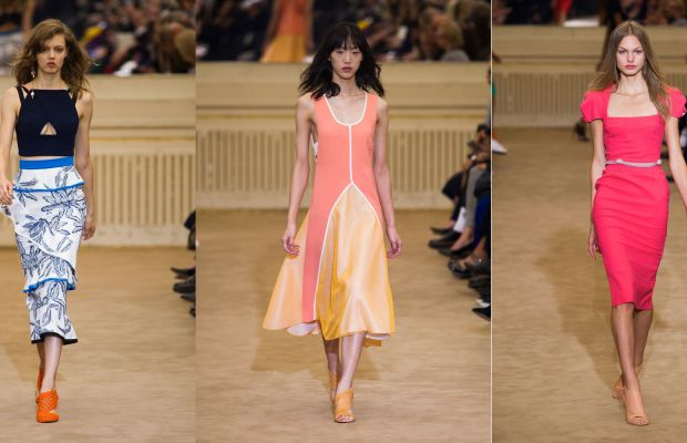 Three looks from Roland Mouret's spring 2016 collection. Photos: Imaxtree